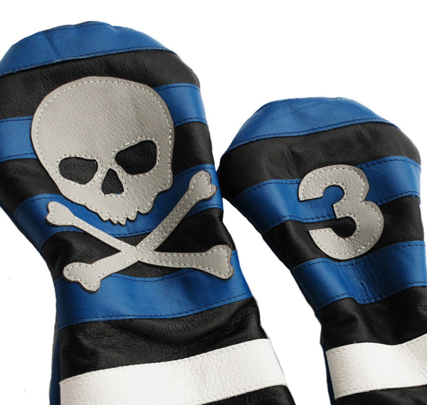 Blue Rugby Stripe with Skull & Bones Pair of Headcovers - Robert Mark Golf, Headcovers - Custom leather headcovers, unique golf headcovers, the best leather headcovers, golf headcovers, putter covers, custom golf putter covers