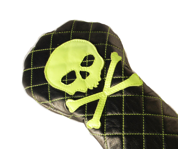 Quilted Neon Skull & Bones Driver Headcover - Robert Mark Golf, Headcover - Custom leather headcovers, unique golf headcovers, the best leather headcovers, golf headcovers, putter covers, custom golf putter covers
