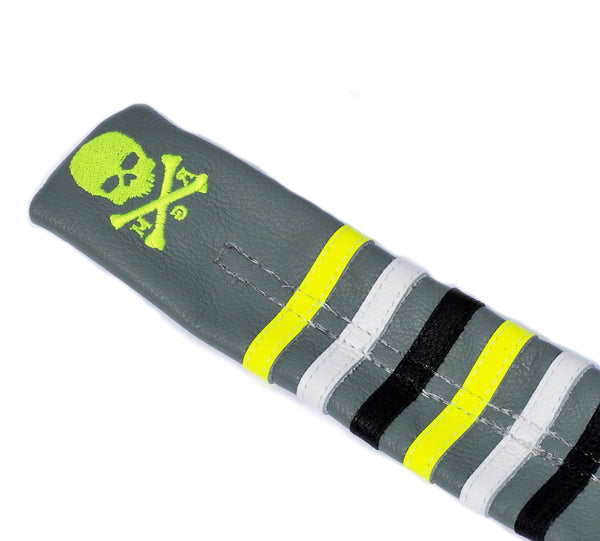 The Stripes Skull & Bones Alignment Sticks Cover - Robert Mark Golf, Alignment Sticks Cover - Custom leather headcovers, unique golf headcovers, the best leather headcovers, golf headcovers, putter covers, custom golf putter covers