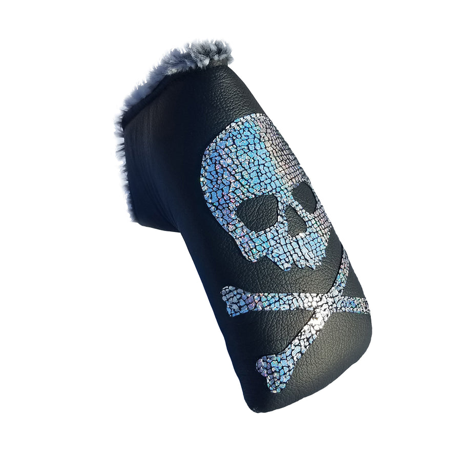 NEW! The RMG Disco Metallic Skull & Bones Putter Cover - Robert Mark Golf, The best custom golf headcovers,