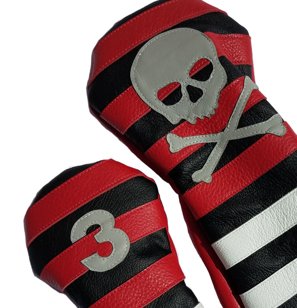 Red Rugby Stripe with Skull & Bones Pair of Headcovers - Robert Mark Golf, Headcovers - Custom leather headcovers, unique golf headcovers, the best leather headcovers, golf headcovers, putter covers, custom golf putter covers