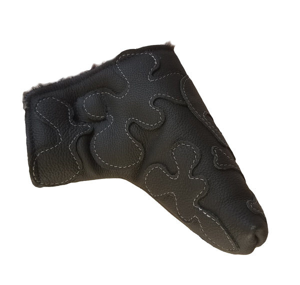"NEW! The ""Murdered Out"" White Stitched Putter Cover - Robert Mark Golf,  - Custom leather headcovers, unique golf headcovers, the best leather headcovers, golf headcovers, putter covers, custom golf putter covers"