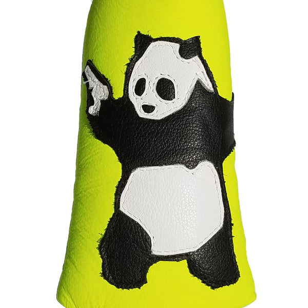 The Neon Yellow Panda With Guns Putter Cover - Robert Mark Golf, Putter Cover - Custom leather headcovers, unique golf headcovers, the best leather headcovers, golf headcovers, putter covers, custom golf putter covers