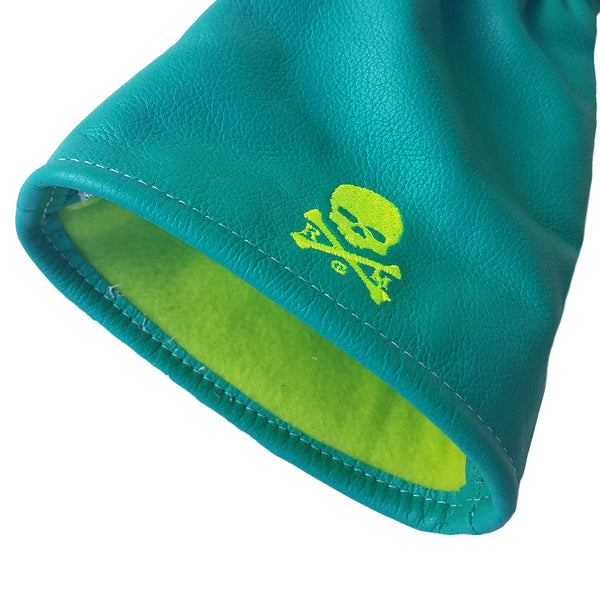 One-Of-A-Kind! Neon Skull & Bones Driver Headcover - Robert Mark Golf, Headcovers - Custom leather headcovers, unique golf headcovers, the best leather headcovers, golf headcovers, putter covers, custom golf putter covers