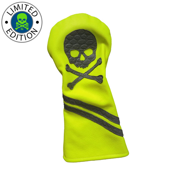 Limited Edition! Neon Yellow Skull & Bones Driver Headcover - Robert Mark Golf, Headcover - Custom leather headcovers, unique golf headcovers, the best leather headcovers, golf headcovers, putter covers, custom golf putter covers