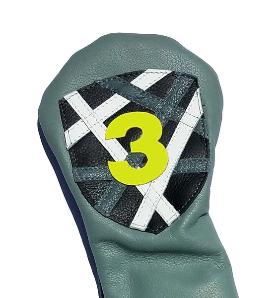 Crest Shield Random Stripe Headcover - Robert Mark Golf, Headcovers - Custom leather headcovers, unique golf headcovers, the best leather headcovers, golf headcovers, putter covers, custom golf putter covers