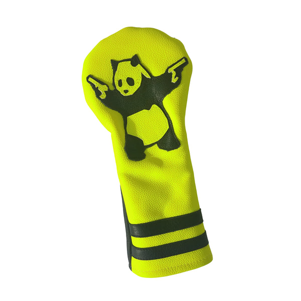 "One-Of-A-Kind! Neon Yellow ""Panda with Guns"" Fairway Wood Headcover - Robert Mark Golf, Headcovers - Custom leather headcovers, unique golf headcovers, the best leather headcovers, golf headcovers, putter covers, custom golf putter covers"