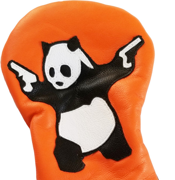 Panda With Guns Headcover - Robert Mark Golf, Headcovers - Custom leather headcovers, unique golf headcovers, the best leather headcovers, golf headcovers, putter covers, custom golf putter covers