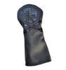 NEW! Murdered Out, OIL SKIN Leather Driver w/  Emb. Alligator Skull & Bones - Robert Mark Golf, The best custom golf headcovers,