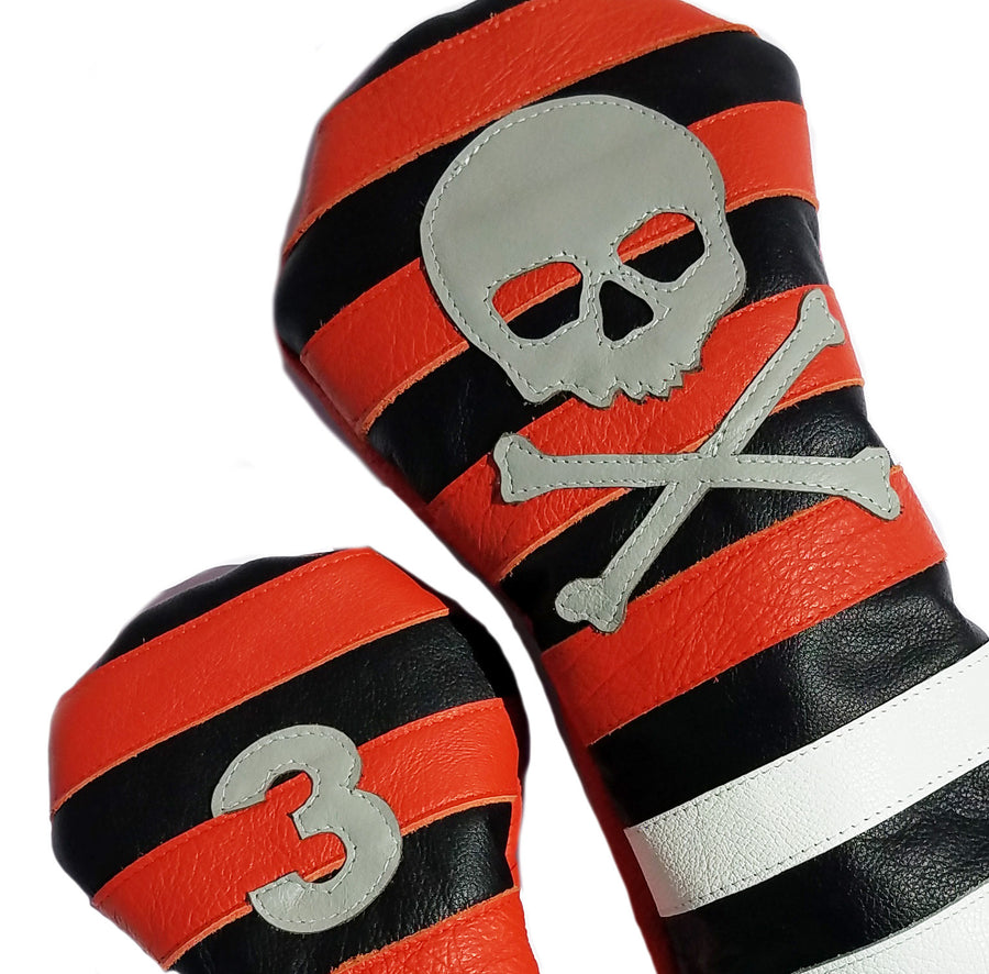 Orange Rugby Stripe with Skull & Bones Pair of Headcovers - Robert Mark Golf, The best custom golf headcovers,
