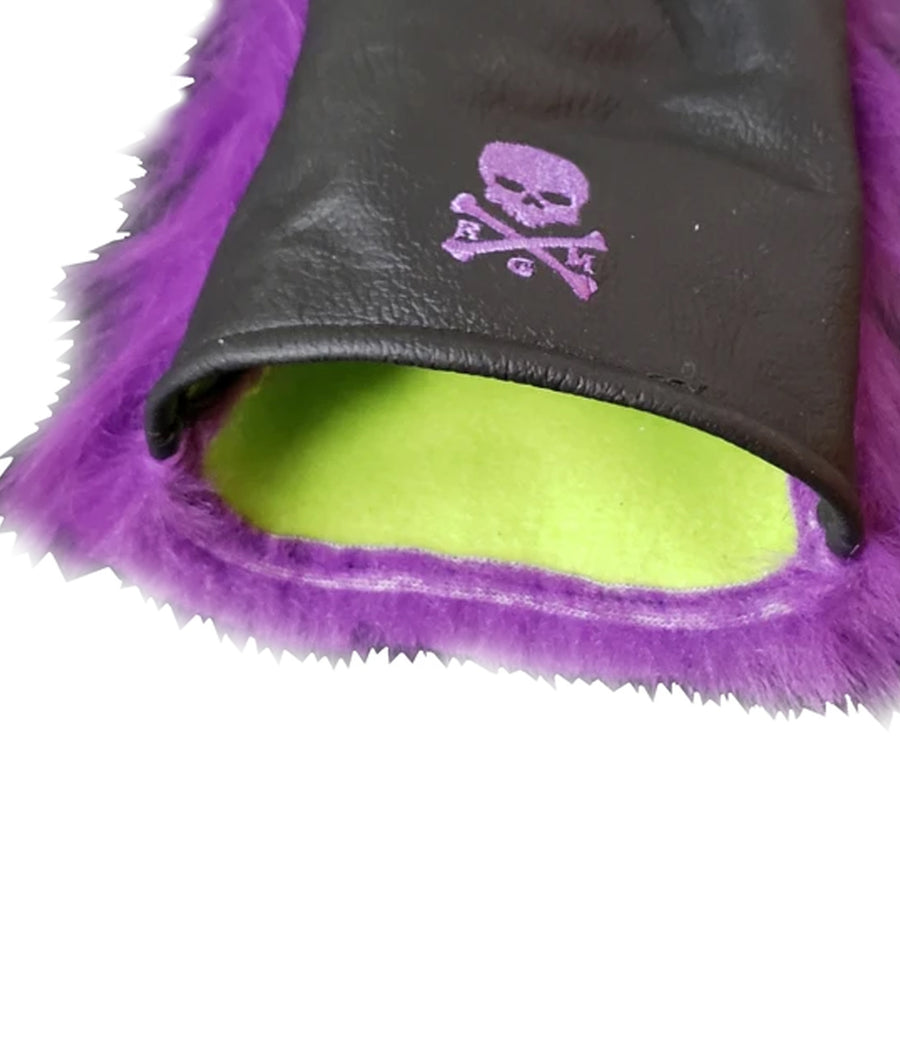 NEW! Purple Fur with Alligator Embossed Skull & Bones Headcover - Robert Mark Golf