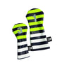 Pair of Neon Yellow Rugby Stripe Headcovers - Robert Mark Golf, The best custom golf headcovers,