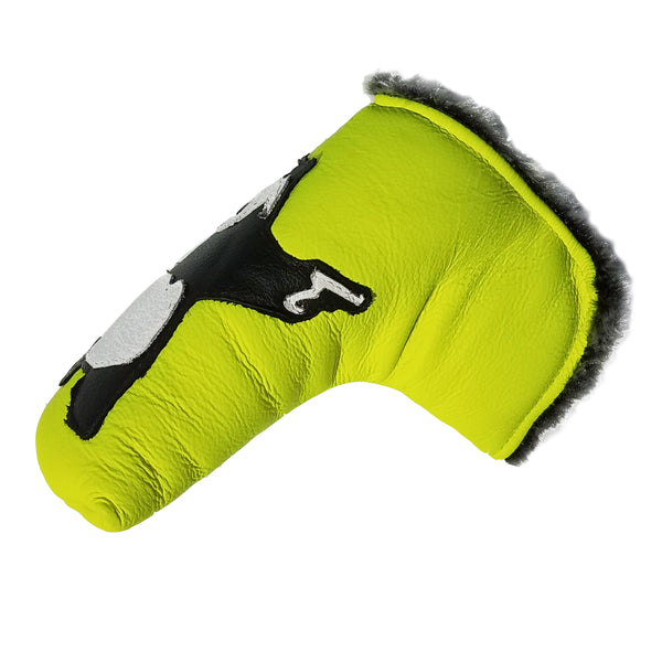 One-Of-A-Kind! New Neon Yellow Panda With Guns Putter Cover - Robert Mark Golf, Putter Cover - Custom leather headcovers, unique golf headcovers, the best leather headcovers, golf headcovers, putter covers, custom golf putter covers