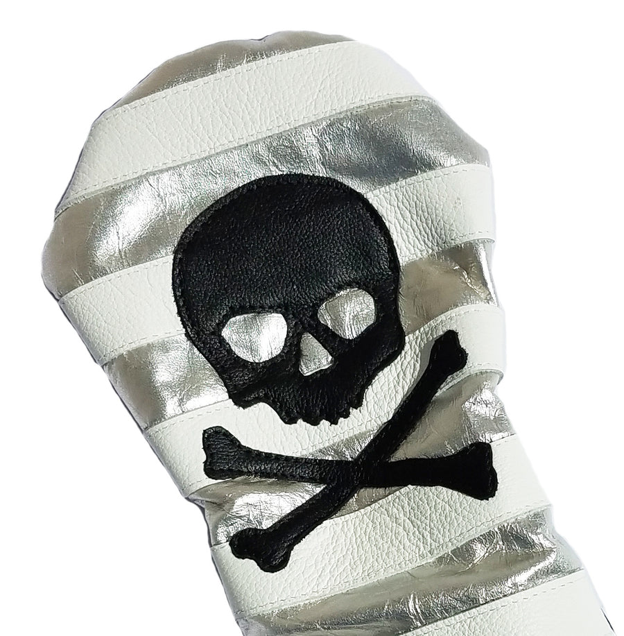 Rugby Style Skull & Bones Silver Metallic Headcover - Robert Mark Golf, The best custom golf headcovers,