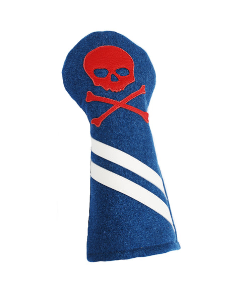 The Denim Skull & Bones Headcover - Robert Mark Golf, Headcovers - Custom leather headcovers, unique golf headcovers, the best leather headcovers, golf headcovers, putter covers, custom golf putter covers