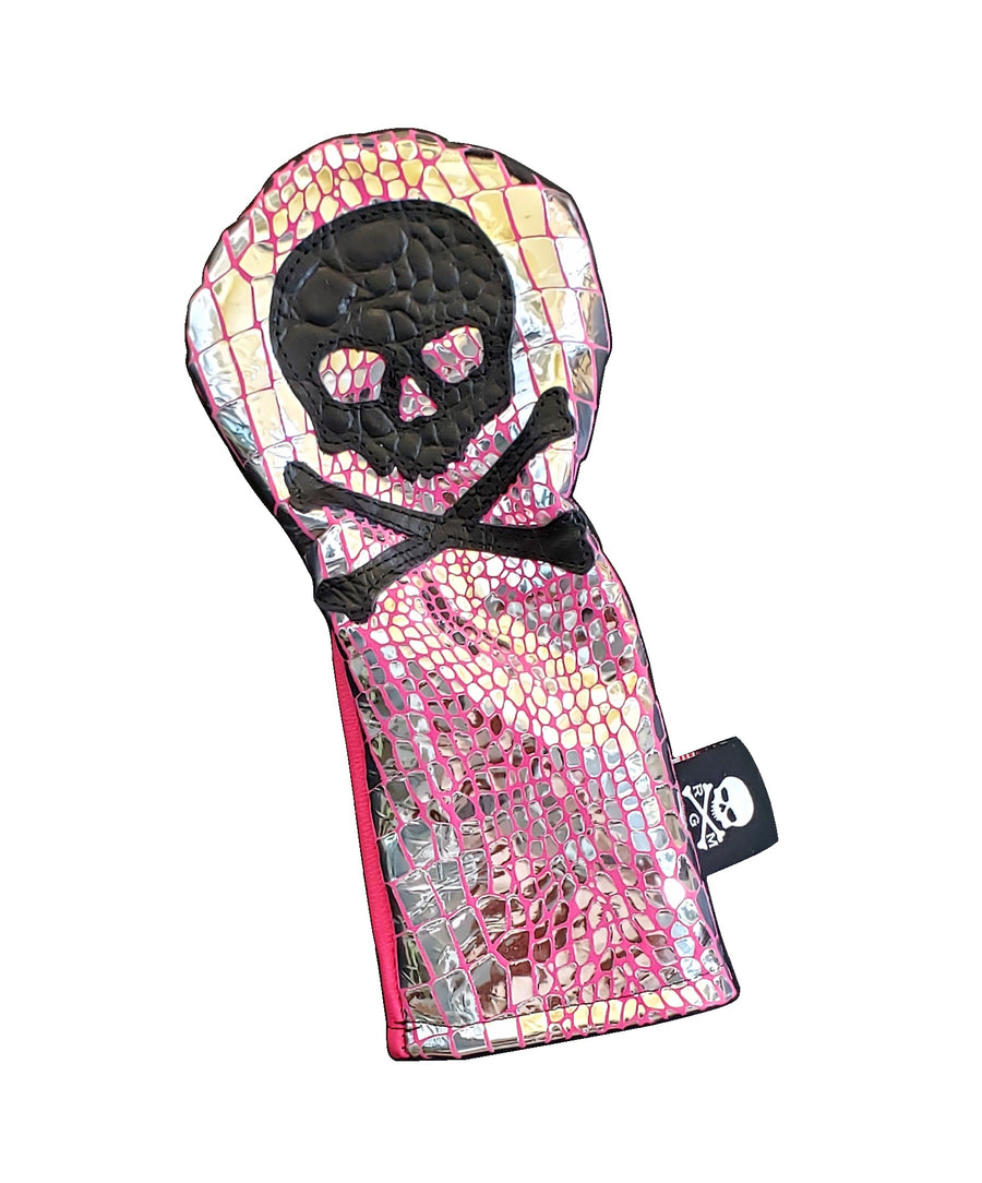 One-Of-A-Kind! The Hot Pink Metallic Gator/ Black Gator Skull & Bones Fairway Wood Cover!!