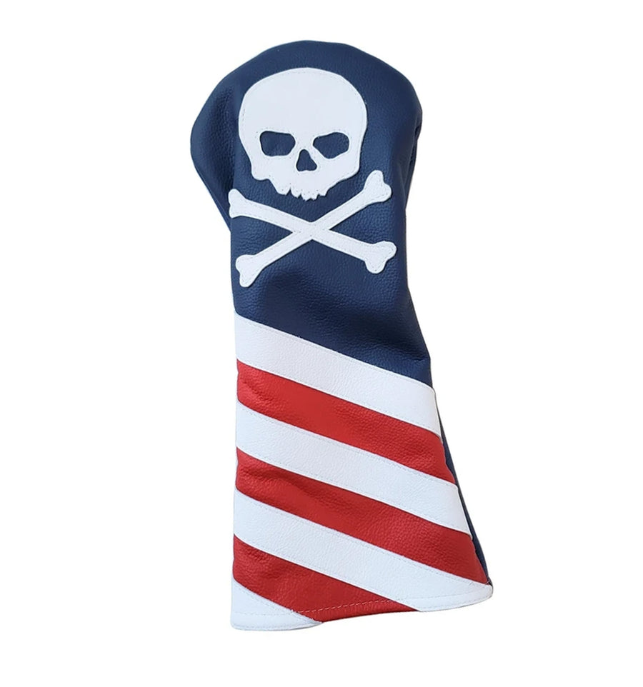 The USA Flag Skull & Bones Headcover - Robert Mark Golf, The best custom golf headcovers,