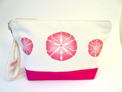 Clutch Purse with Pink Sand Dollars, Handmade & Hand Stenciled 11x6