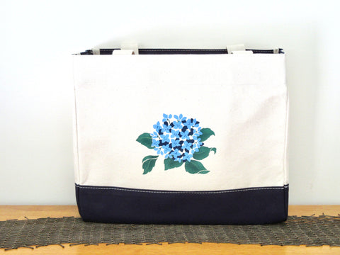 Cape Cod Canvas Tote Bag with Hydrangeas