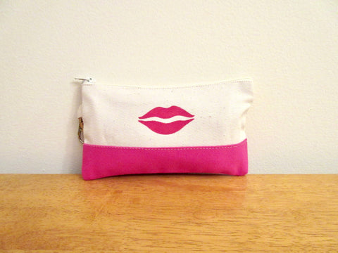 Lipstick Purse Case, Pink or Navy Blue, Hand Stenciled with Lips 4x7