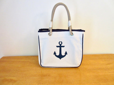 Canvas Tote Bag, Rope Handles and Navy Anchor 12x14x8
