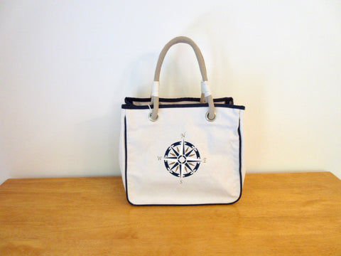 Canvas Tote Bag, Rope Handles with Compass Rose  12x14x8