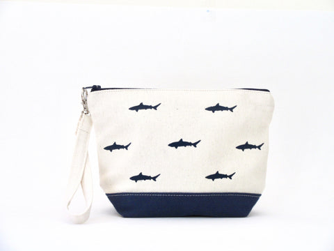 Clutch Purse with Sharks, Handmade & Hand Stenciled 9x6