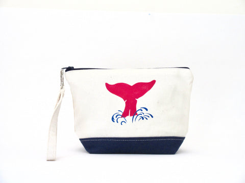Clutch Purse with Whale's Tail, Handmade & Hand Stenciled 9x6