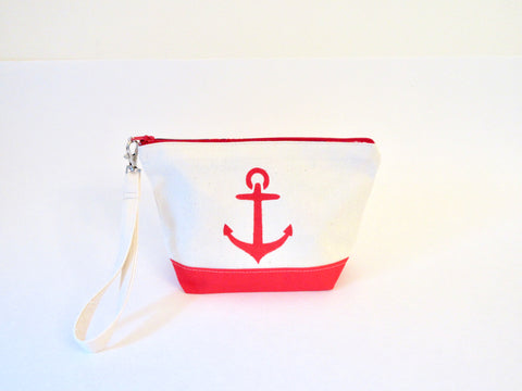 Clutch Purse with Anchor, Red Sox liner, Handmade & Hand Stenciled 9x6