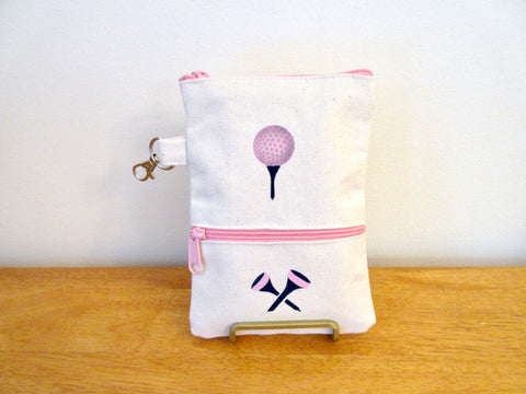 Ladies Lined 7x5 Clip On Golf Bag - Golf ball & tees - Pastel Pink