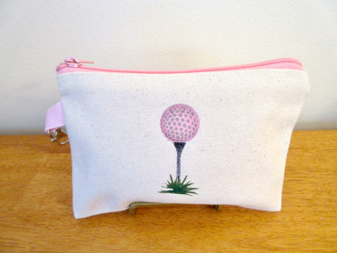 Ladies Lined 5x7 Clip On Golf Bag - Golf ball & tee - Pastel Pink
