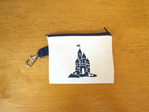 Change Purse/Coin Purse, Lined, with Navy Sand Castle