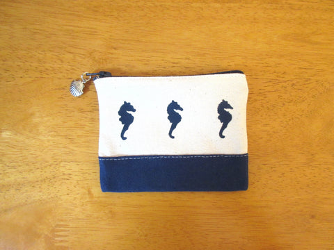 Change Purse/Coin Purse Unlined, with Navy Sea Horses
