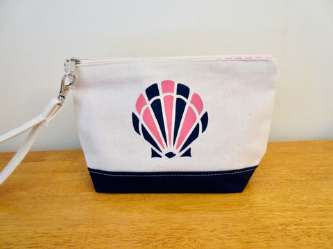 Clutch Purse with Pink & Navy Scallop Shell 9x6