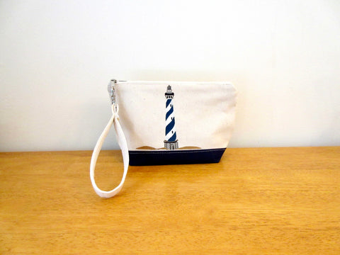 Clutch Purse with Navy/White Lighthouse 9x6