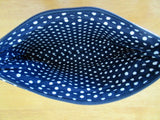 Clutch Purse, Navy & White Polka Dot Contrast, Lined 10x6
