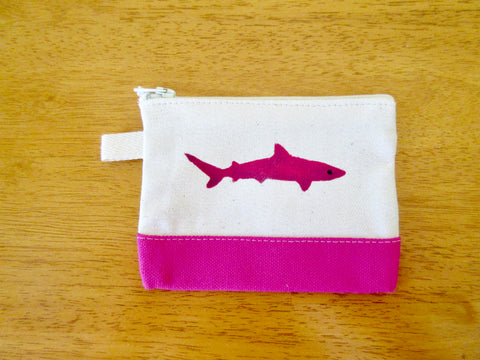 Change Purse/Coin Purse Unlined, with Pink Shark