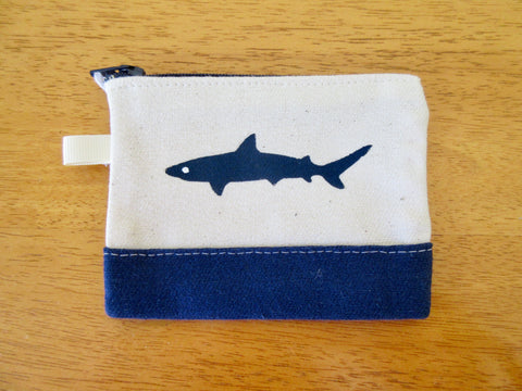 Change Purse/Coin Purse Unlined, with Navy Shark