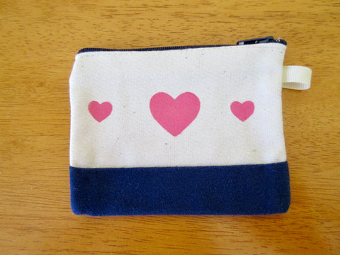 Change Purse/Coin Purse Unlined, with Three Pink Hearts