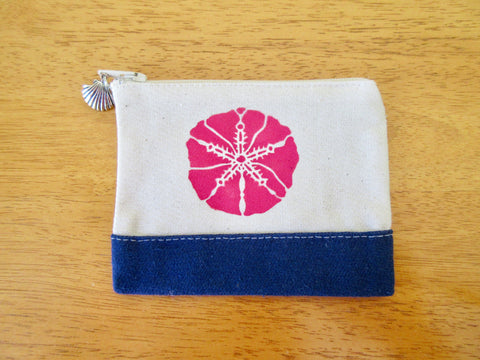 Change Purse/Coin Purse Unlined, with Pink Sand Dollar