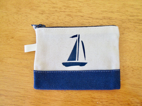 Change Purse/Coin Purse Unlined, with Navy Sailboat