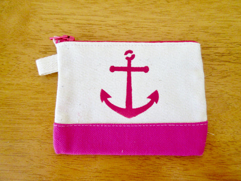 Change Purse/Coin Purse Unlined, with Pink Anchor