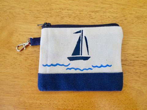 Change Purse/Coin Purse, Lined, with Navy Sailboat and Waves