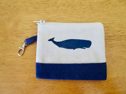 Change Purse/Coin Purse Lined, with Navy Whale