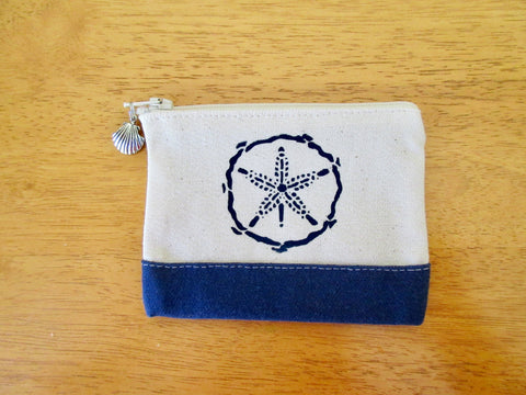 Change Purse/Coin Purse Unlined, with Navy Sand Dollar
