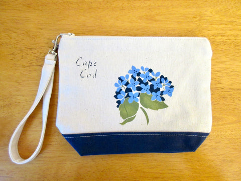 Clutch Purse with Hydrangeas & Cape Cod, Handmade & Hand Stenciled 9x6
