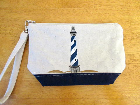 Clutch Purse with Navy/White Lighthouse, Handmade & Hand Stenciled 9x6