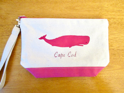 Clutch Purse with Pink Whale, Handmade & Hand Stenciled 9x6