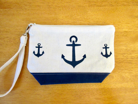 Clutch Purse, with Three Navy Anchors, Handmade & Hand Stenciled 9x6