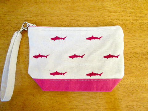 Clutch Purse with Mini Pink Sharks, Handmade & Hand Stenciled 9x6